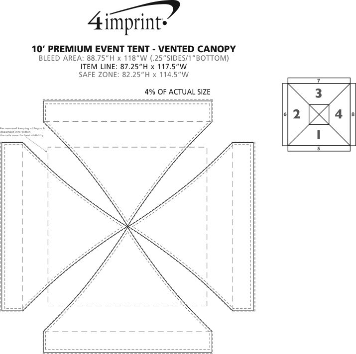 Imprint Area of Premium 10' Event Tent with Vented Canopy