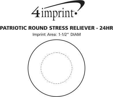 Imprint Area of Patriotic Round Stress Reliever - 24 hr