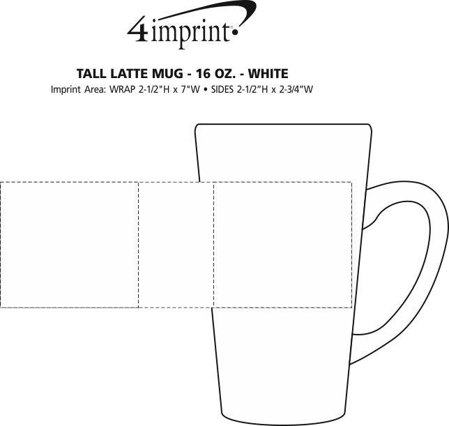 Imprint Area of Tall Latte Mug - 16 oz. - White