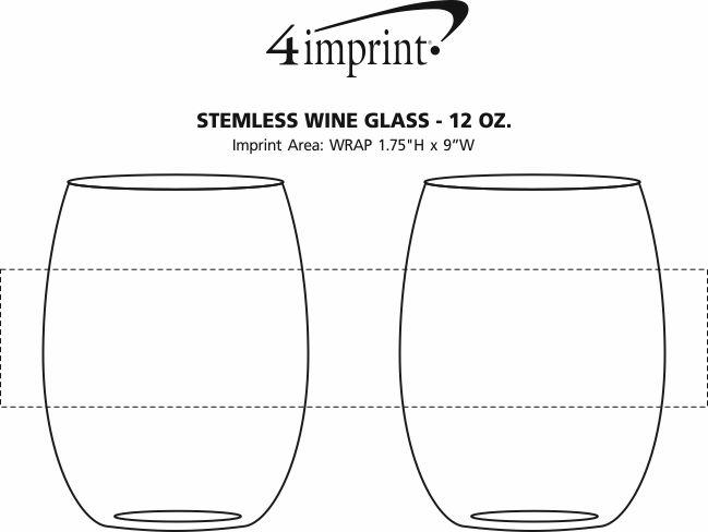 Imprint Area of Stemless Wine Glass - 12 oz.
