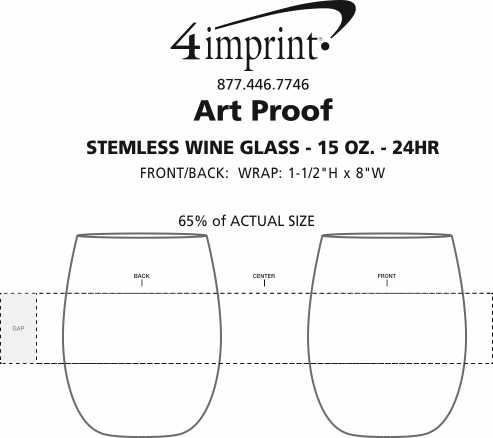 Imprint Area of Stemless Wine Glass - 15 oz. - 24 hr