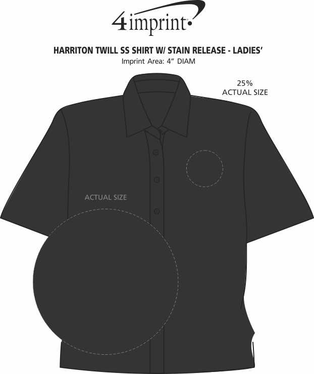 Imprint Area of Harriton Twill SS Shirt with Stain Release - Ladies'