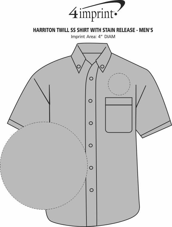 Imprint Area of Harriton Twill SS Shirt with Stain Release - Men's