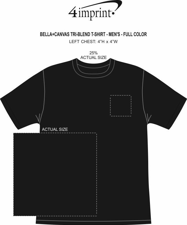 Imprint Area of Bella+Canvas Tri-Blend T-Shirt - Men's - Full Color