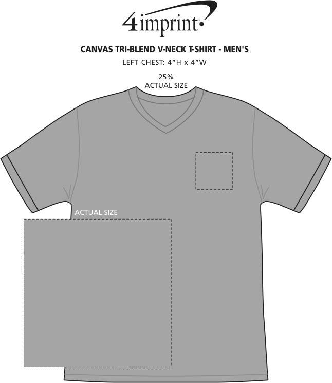 Imprint Area of Bella+Canvas Tri-Blend V-Neck T-Shirt - Men's