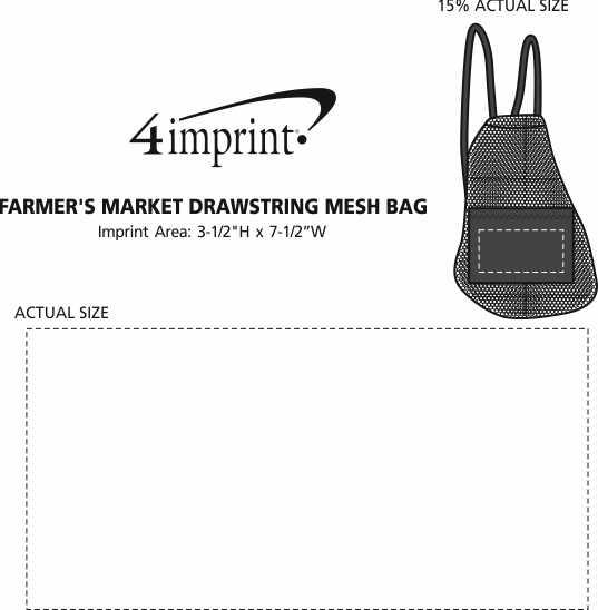 Imprint Area of Farmer's Market Drawstring Mesh Bag
