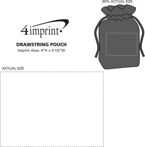 Imprint Area of Drawstring Pouch