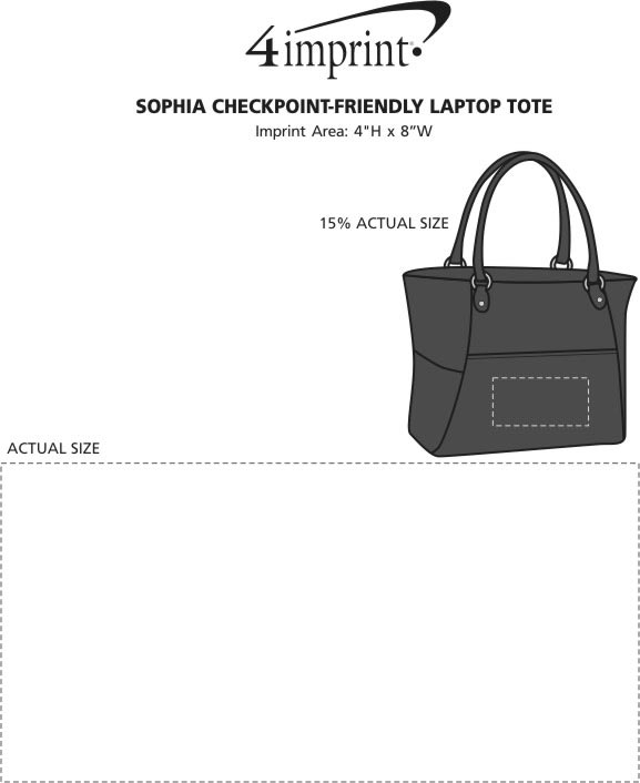 Imprint Area of Sophia Checkpoint-Friendly Laptop Tote