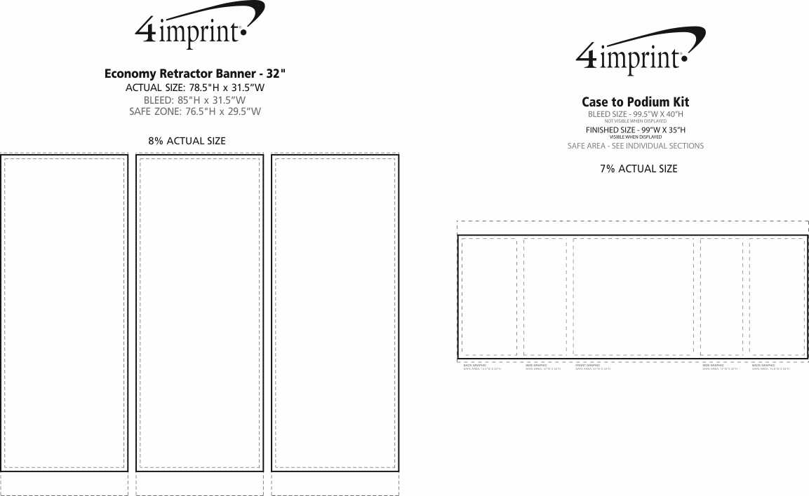 Imprint Area of Case to Podium Floor Display - Triple Kit