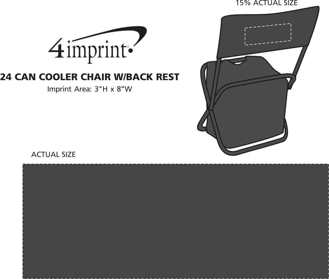 Imprint Area of 24-Can Cooler Chair with Back Rest