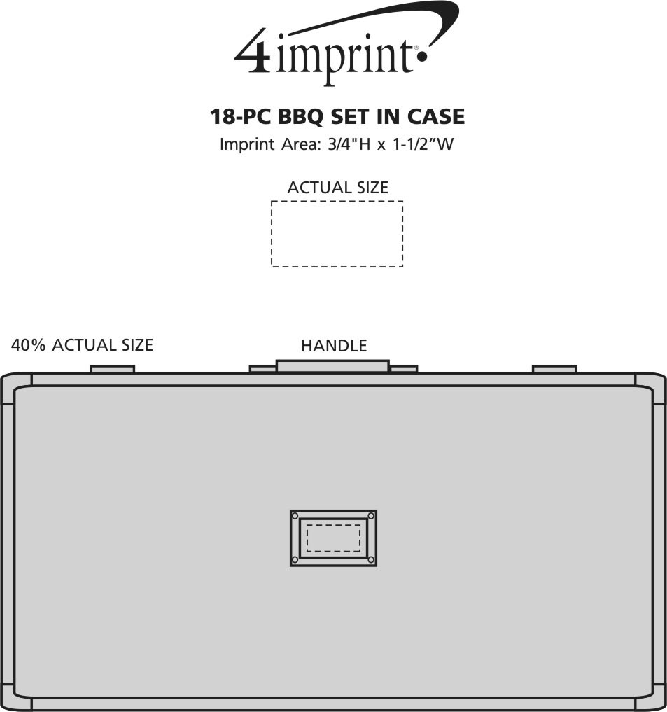 Imprint Area of 18-Piece BBQ Set in Case