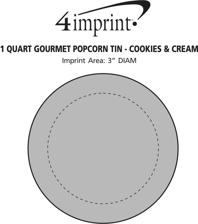 Imprint Area of 1 Quart Gourmet Popcorn Tin - Cookies & Cream