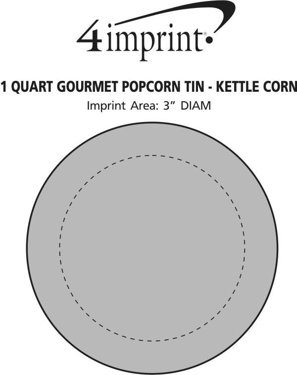 Imprint Area of 1 Quart Gourmet Popcorn Tin - Kettle Corn