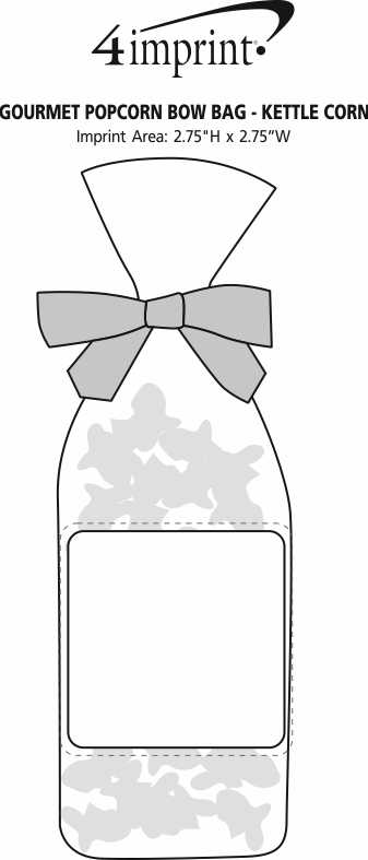 Imprint Area of Gourmet Popcorn Bow Bag - Kettle Corn