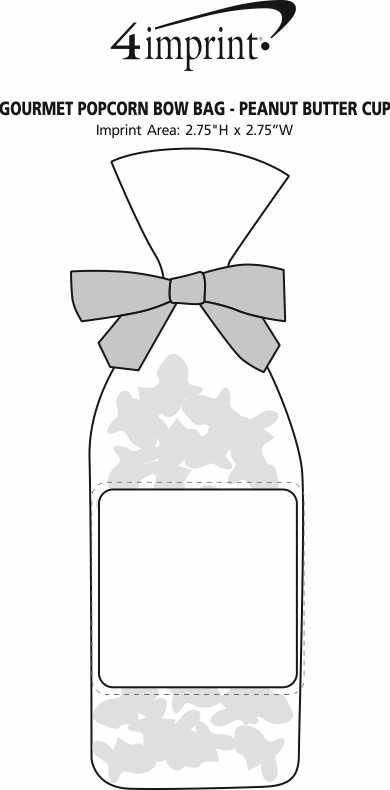Imprint Area of Gourmet Popcorn Bow Bag - Peanut Butter Cup