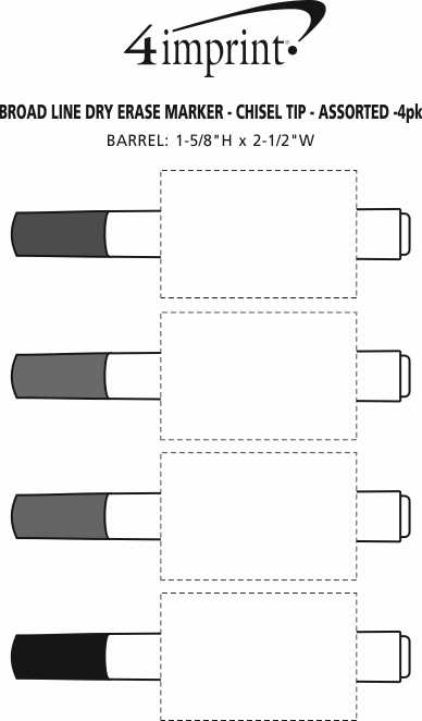Imprint Area of Broad Line Dry Erase Marker - Chisel Tip - Assorted - 4pk