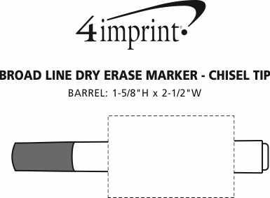 Imprint Area of Broad Line Dry Erase Marker - Chisel Tip