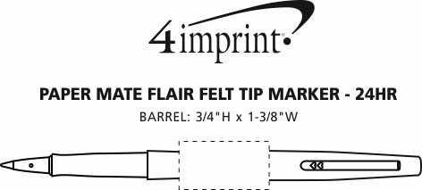 Imprint Area of Paper Mate Flair Felt Tip Marker - 24 hr