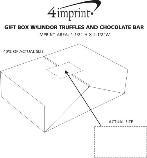 Imprint Area of Gift Box with Lindor Truffles and Chocolate Bar