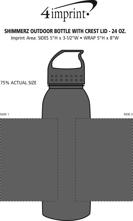 Imprint Area of ShimmerZ Outdoor Bottle with Crest Lid - 24 oz.