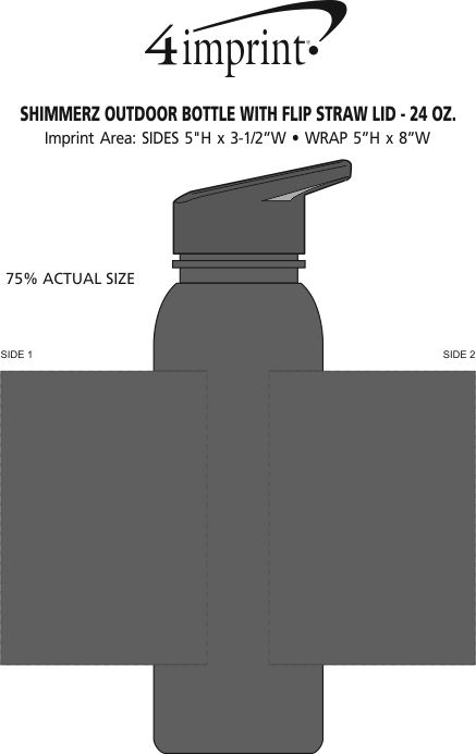 Imprint Area of ShimmerZ Outdoor Bottle with Flip Straw Lid - 24 oz.