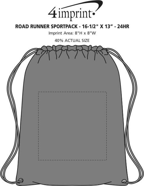 "Imprint Area of Road Runner Sportpack - 16-1/2"" x 13"" - 24 hr"