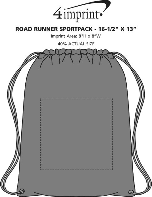 "Imprint Area of Road Runner Sportpack - 16-1/2"" x 13"""