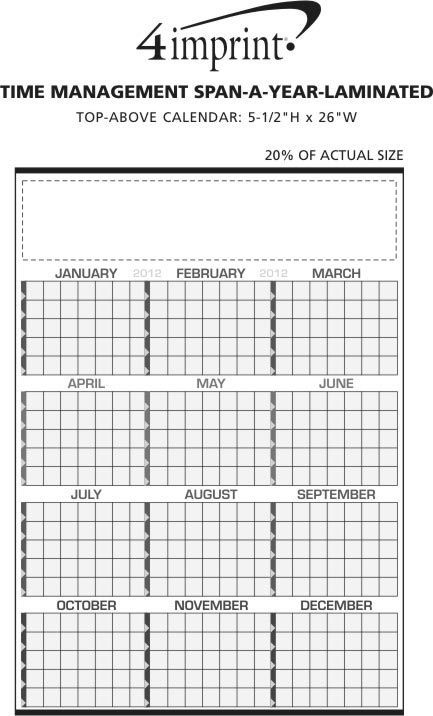 Imprint Area of Time Management Span-A-Year - Laminated