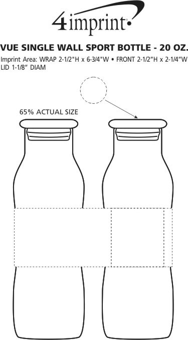 Imprint Area of Vue Glass Bottle with Glass Lid - 20 oz.