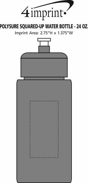Imprint Area of PolySure Squared-Up Water Bottle - 24 oz.