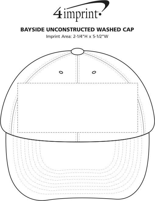 Imprint Area of Bayside USA Made Unconstructed Washed Cap