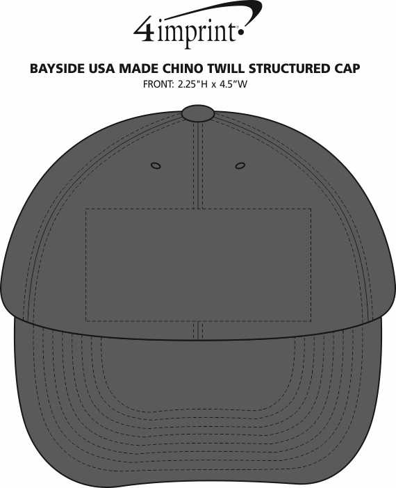 Imprint Area of Bayside USA Made Chino Twill Structured Cap