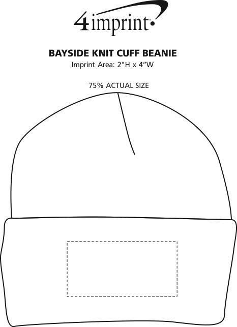 Imprint Area of Bayside USA Made Knit Cuff Beanie