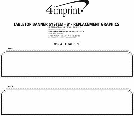 Imprint Area of Tabletop Banner System - 8' - Replacement Graphic