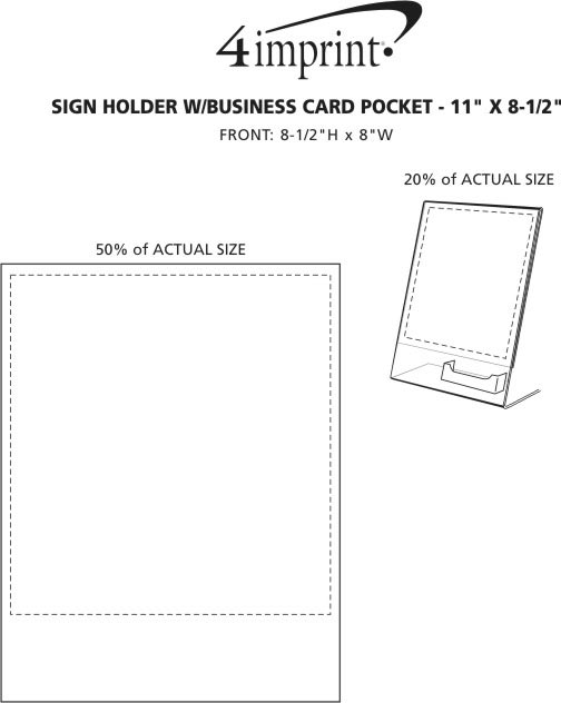 "Imprint Area of Sign Holder with Business Card Pocket - 11"" x 8-1/2"""