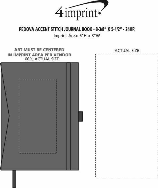 "Imprint Area of Pedova Accent Stitch Journal Book - 8-3/8"" x 5-1/2"""