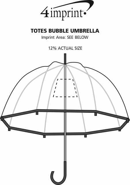 Imprint Area of totes Bubble Umbrella