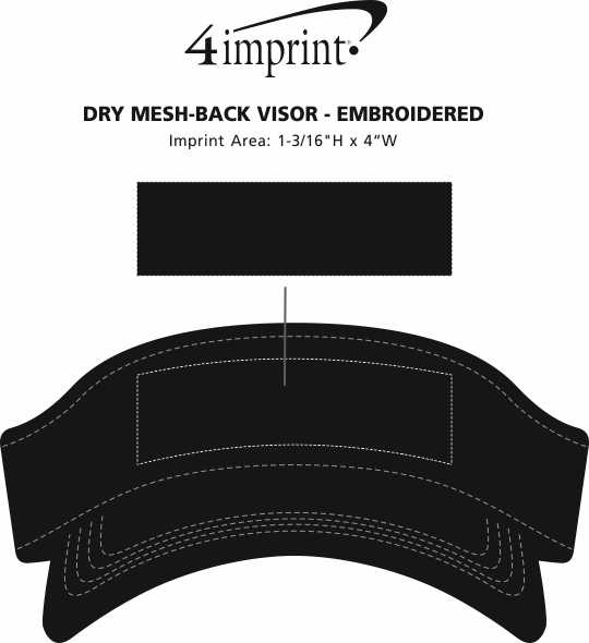 Imprint Area of Dry Mesh-Back Visor - Embroidered