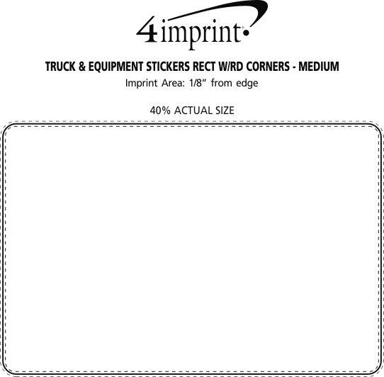 Imprint Area of Truck & Equipment Stickers Rectangle with Round Corners - Medium