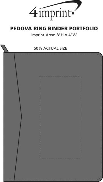 Imprint Area of Pedova Ring Binder Portfolio