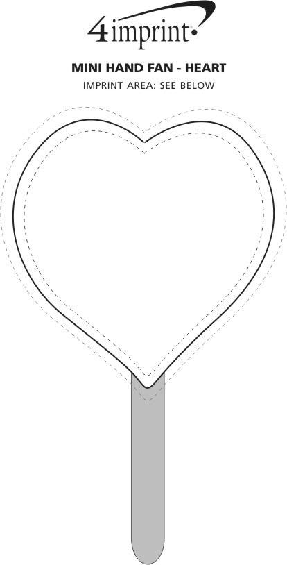 Imprint Area of Mini Hand Fan - Heart