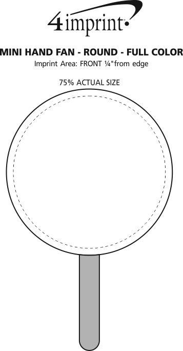 Imprint Area of Mini Hand Fan - Round - Full Color