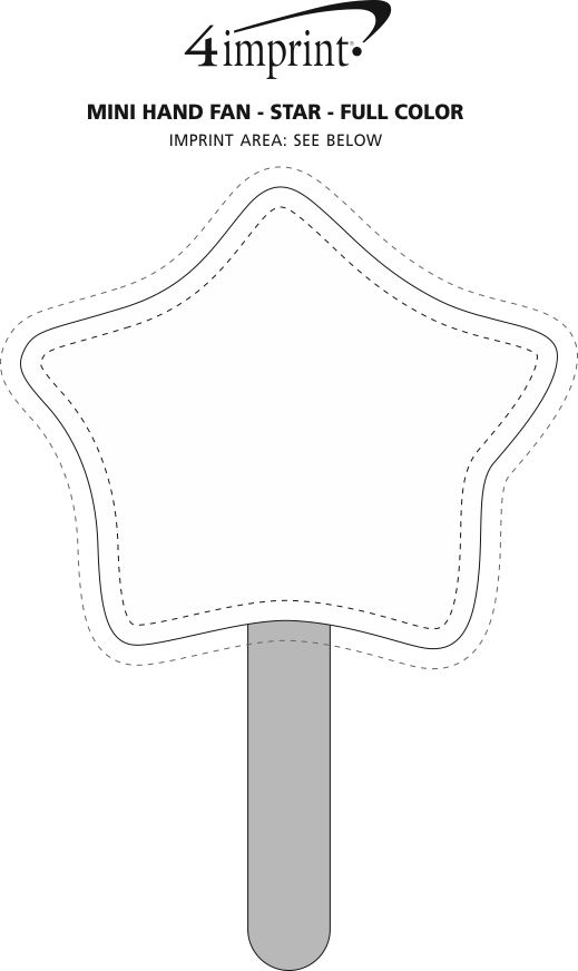 Imprint Area of Mini Hand Fan - Star - Full Color