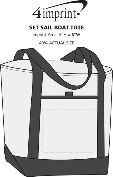 Imprint Area of Set Sail Boat Tote