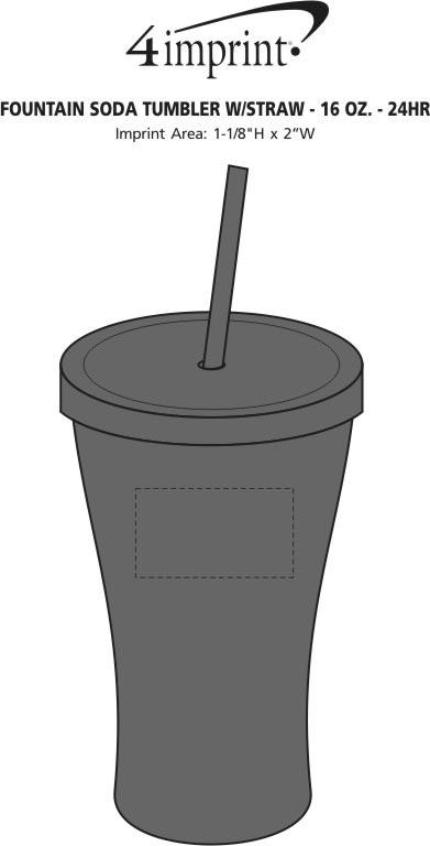Imprint Area of Fountain Soda Tumbler with Straw - 16 oz. - 24 hr
