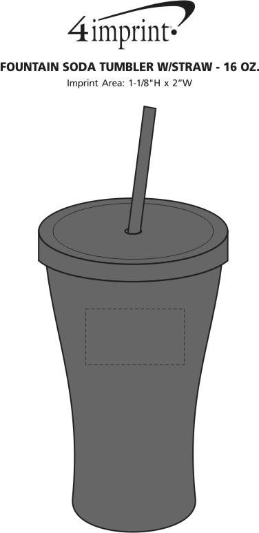 Imprint Area of Fountain Soda Tumbler with Straw - 16 oz.