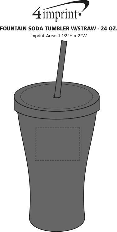 Imprint Area of Fountain Soda Tumbler with Straw - 24 oz.