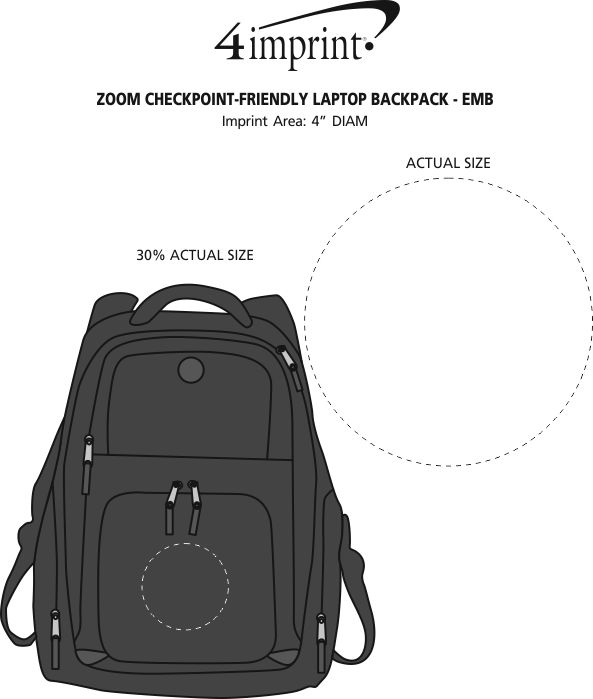 Imprint Area of Zoom Checkpoint-Friendly Laptop Backpack - Embroidered