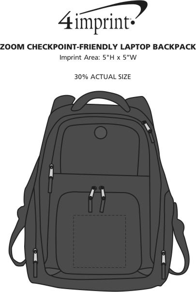 Imprint Area of Zoom Checkpoint-Friendly Laptop Backpack