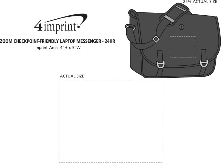 Imprint Area of Zoom Checkpoint-Friendly Laptop Messenger - 24 hr